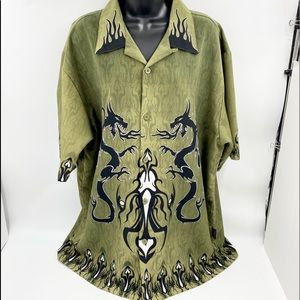 Sapphire Lounge Shirt Adult XL Green Button Up Double Dragon Tribal Mens Camp